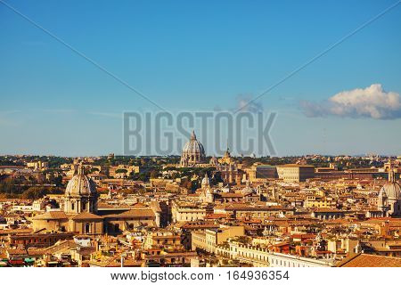 Rome aerial view with the Papal Basilica of St. Peter in the Vatican city