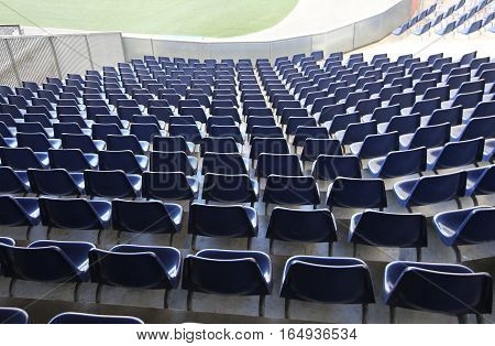 Chairs With No Spectators On The Stadium Bleachers