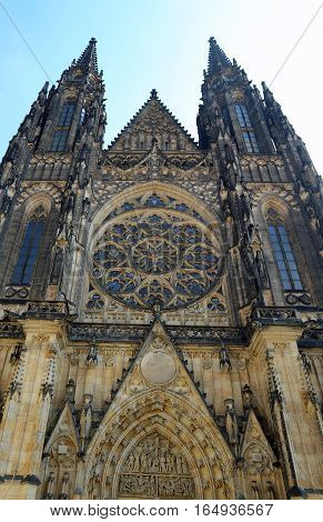 Impressive Facade Of The Gothic Cathedral Of St. Vitus In Prague