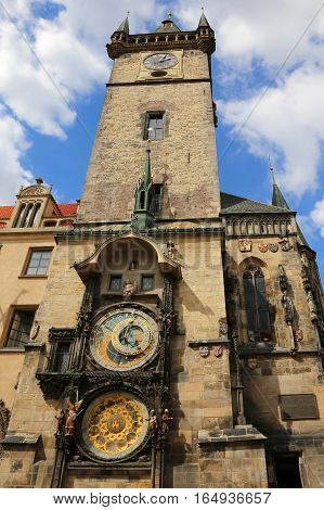 Old Tower With Astronomical Clock In Prague