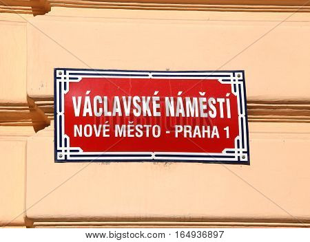 Sign Of Prague S Main Square Called Wenceslas Square