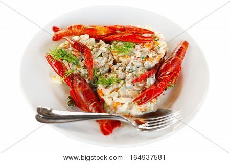 fish salad decorated with red crayfish on a white plate. Isolated on white. Soft focus selective focus