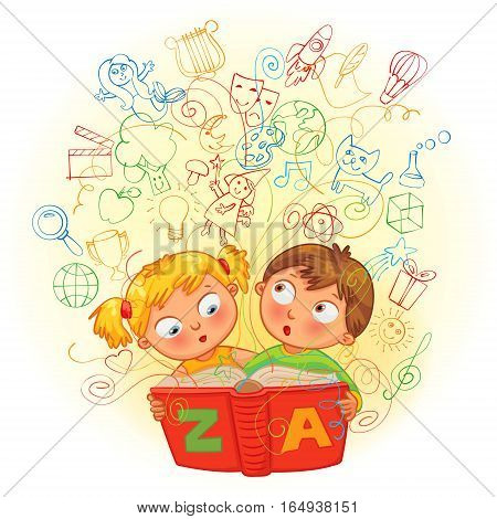 Boy and girl reading a magic book. In the book come to life images. Vector illustration. Isolated on white background