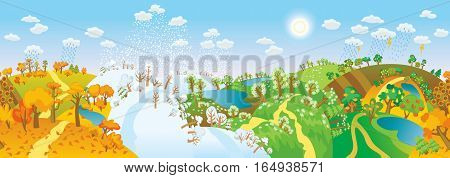 Change of seasons. Seasons in landscape. Beautiful natural landscapes at different time of the year - winter spring, summer, autumn. Vector illustration. Seamless panorama