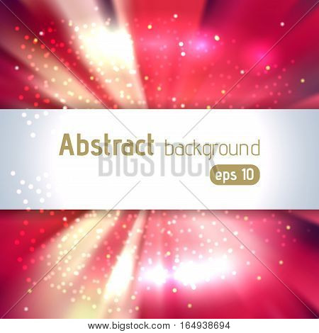 Background With Colorful Light Rays. Abstract Background. Vector Illustration. Red, White, Yellow Co