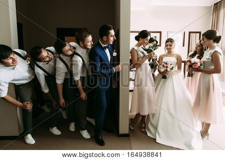 Ridiculous photo of the couple and their crazy friends