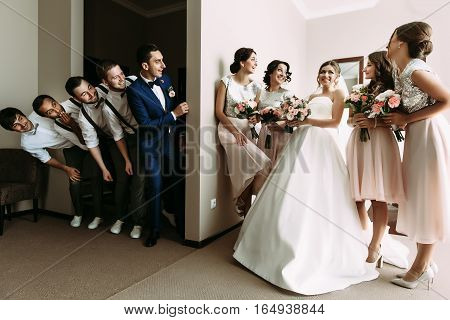 Boys and girls in the room on the wedding