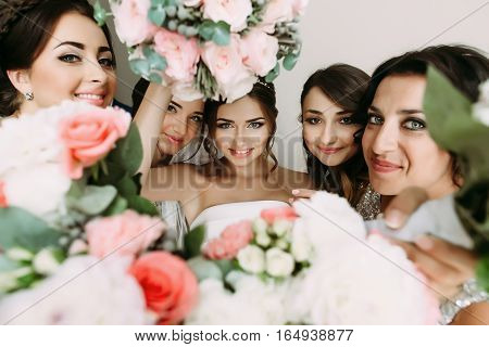 Pink Flowers And Bride's Face In The Middle