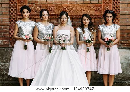 Charming Bridesmaids In The Nice Dresses And A Bride
