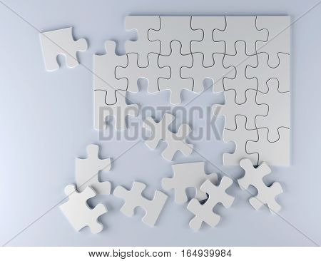 white puzzle pieces on paper 3D illustration strategy team work