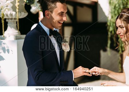 Smile Of The Groom On The Wedding Ceremony