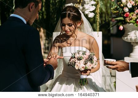 Bride With The Ring  On The Wedding Ceremony