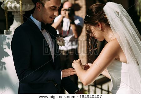 Wedding ceremony of the young couple in love