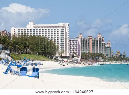 The view of a beach coastline on Paradise Island popular vacation destination in The Bahamas.