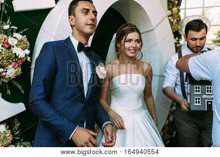 Married couple on the reception on their wedding