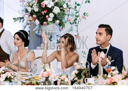 Bride Is Applauding On The Wedding Celebration