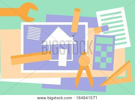 Flat design vector illustration of tools: blueprint with plan of house. Construction, building and engineering concept