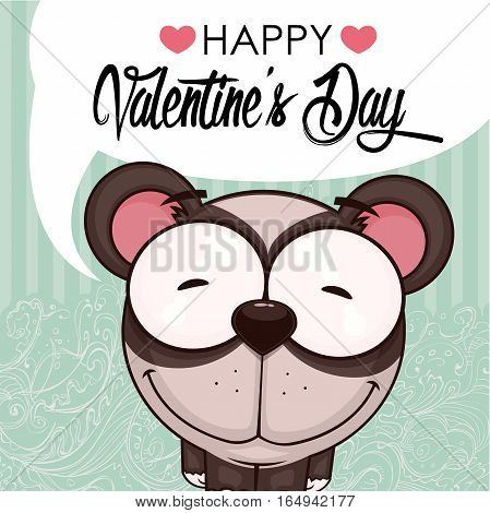 Valentines day greeting card with funny animal character.