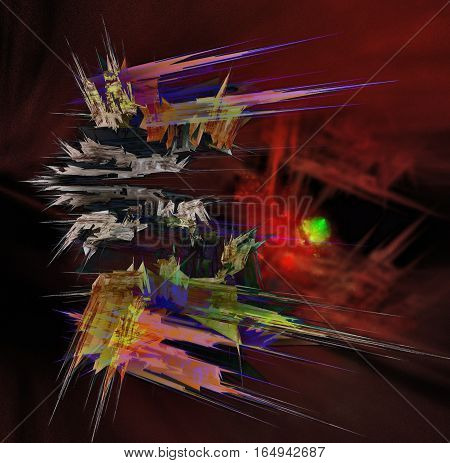 Abstract crystalline ship cruising through an unknown region of space.
