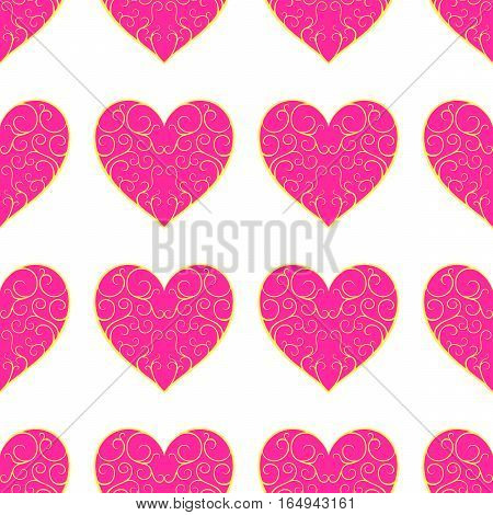 The Pattern Of Beautiful Pink Openwork Hearts On A White Background.