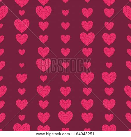 Pattern Of Openwork Hearts On A Bright Red Background.