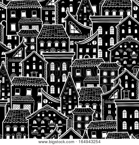 Dark seamless pattern with houses, doodle house vector background, monochrome house wallpaper, good for design fabric, wrapping paper, postcards, EPS 8