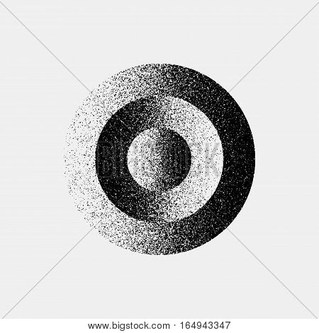 Black abstract geometric shape, circle badge with film grain, noise, dotwork, grunge texture and light background for logo, design concepts, posters, banners, web, prints. Vector illustration.