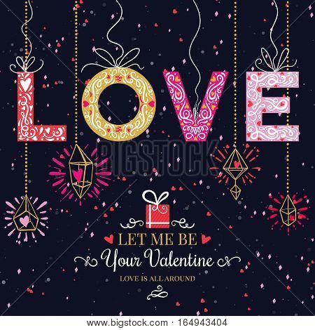 Holiday and Valentines Day hand drawing colorful greeting card