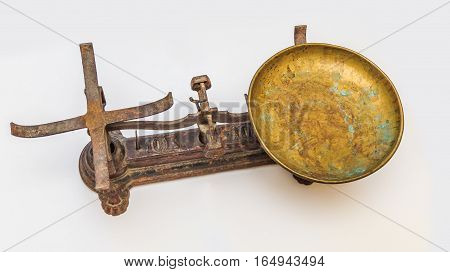 Vintage measuring kitchen scales with brass cups