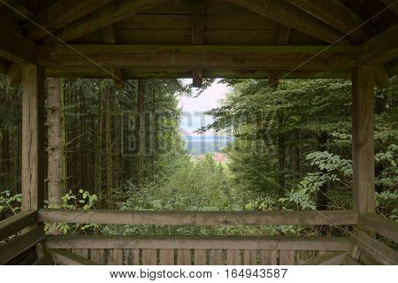 Outlook From A Viewing Platform On The Mountain Schlossberg In Bavaria