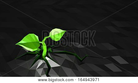 Ecology concept Sprout has grown through the white background, low poly, 3D illustration, dark background