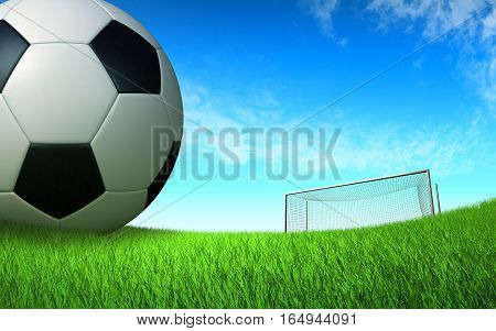 soccer ball close up on the football field in front of the gate, sports background backdrop 3D illustration