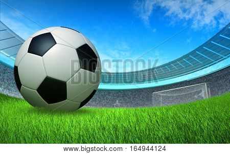soccer ball close up in front of the gate at the stadium, sports background backdrop 3D illustration