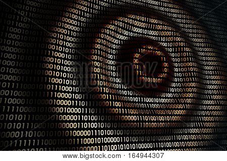 abstract binary digital technology background, circular waves on abstract digital wall in cyberspace, 3d illustration