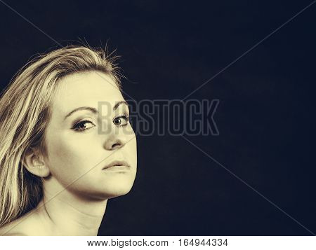 Elegance feminity lady beauty concept. Portrait of beautiful dreaming elegant woman in sepia