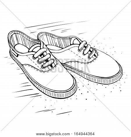 Vector Sketch Illustration. Gumshoes skateboard fashion urban sneakers in black and white colors.