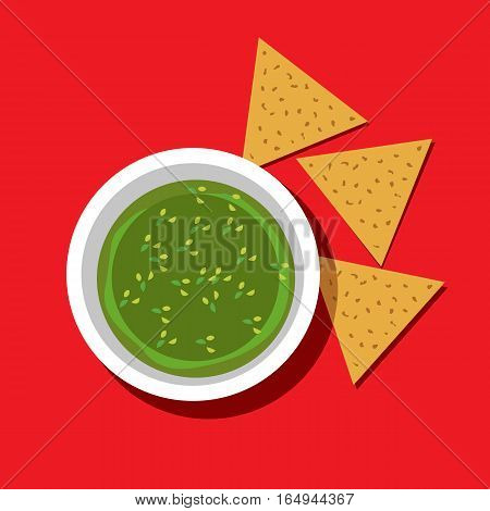 Food icon concept. Mexican cuisine guacamole sauce, nachos. Freehand drawn bright color cartoon style. Traditional hot chili Latin America meal. Vector template cooking sign project banner background