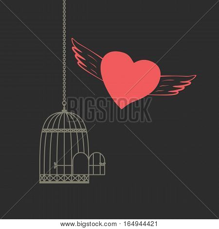 Romantic love poster. Red heart with wings flying out of bird cage. Freehand drawn fancy cartoon style. Vector vintage greeting card template with Valentine day symbol, weeding banner background