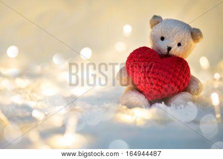Bear Doll Hug Valentines Heart.