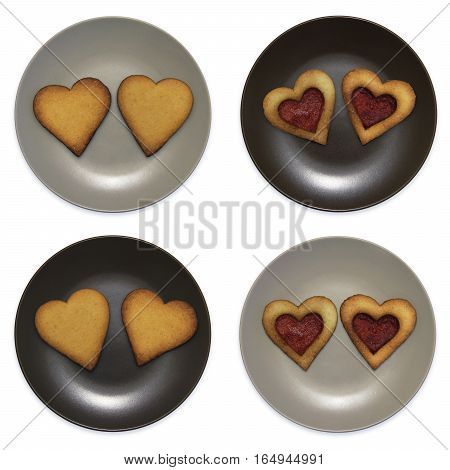 set of smiley in the form of plates with heart shaped cookies, isolated on white background