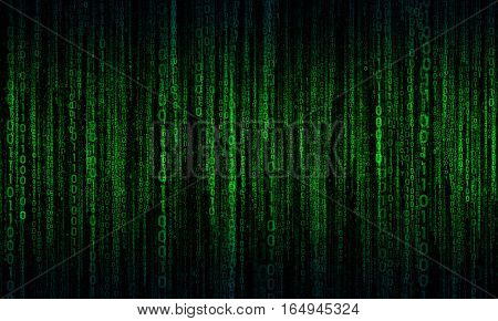 cyberspace with green - blue digital lines, binary hanging chain, abstract background