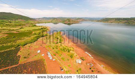 aerial view of lac de salagou, southern francem