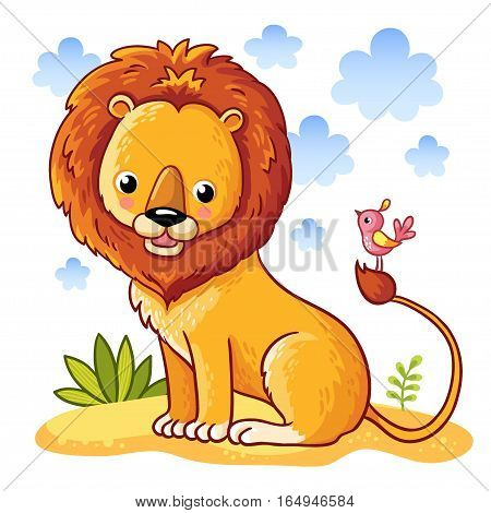 Lion sitting on a sandy a meadow. Vector illustration of animals in a childrens style.