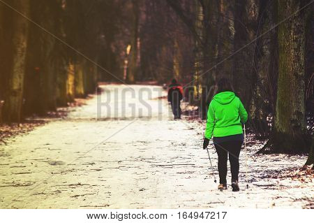 Nordic Walking In The Park, Winter, Vintage Effect