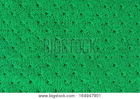 Green Knitted woolen Fabric Texture and pattern