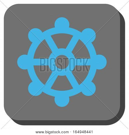 Cog rounded button. Vector pictogram style is a flat symbol in a rounded square button blue and gray colors.