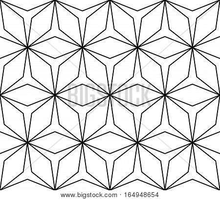 Vector monochrome seamless pattern, simple ornamental background, repeat geometric tiles, linear lattice. Abstract endless texture. Design element for prints, decoration, textile, digital, furniture