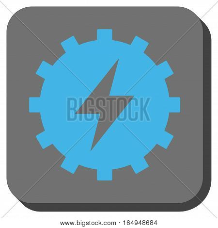 Electric Energy Gear square button. Vector pictogram style is a flat symbol centered in a rounded square button blue and gray colors.
