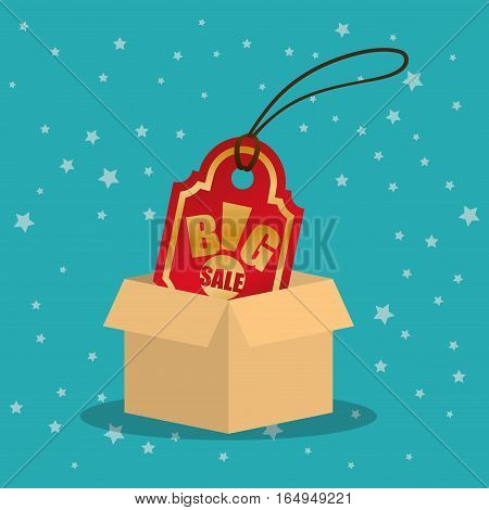 cardboard box tag price big offer sale with star blue background vector illustration eps 10