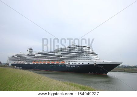 Velsen the Netherlands - May 29th 2016: MS Koningsdam. MS Koningsdam on a trip from Amsterdam to the North Sea. The Koningsdam is a cruise ship operated by Holland America Line.